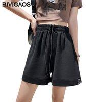Pantalones cortos de mujer BIVIGAOS 2021 verano delgado negro etiqueta algodón deporte mujeres alta cintura casual suelto gris azul ancho pantalón de sujeción