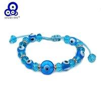 Lucky Eye Verre Bleu Turc Turkish Perles Bracelet Brayed Corde Crystal réglable Pour Femmes Filles Bijoux Le773 Charm Bracelets