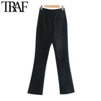 Frauen Hosen Capris TRAF Frauen Mode Büro Tragen Seitentaschen Flared Vintage Hohe Taille Reißverschluss Weibliche Hose Mujer A4UI