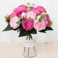 Decorative Flowers & Wreaths 30cm Silk Bouquet Peony Artificial 5 Big Heads Bride Wedding Home Decoration