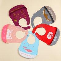 10 Colors Baby Silicone Bibs Feeding Silica gel Bib Cartoon Waterproof Food Grade toddler infant Apron Adjustable Saliva Towel 32*23cm Z3835