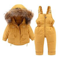 Down Coat 2pcs Set Baby Girl Winter Jacket And Jumpsuit For Children Thicken Warm Fur Collar Girls Infant Snowsuit 0-4year