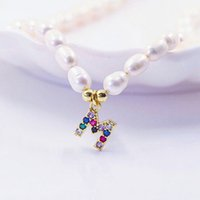 Necklace Fashion Natural Freshwater Letter Choker Necklace bracelet Women Baroque Pearl Initial 26 Alphabet Name Pendant Jewelry