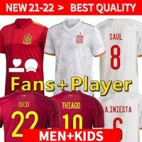 2020 2021 Spagna Soccer Jersey Leader Version Camiseta España Paco Morata A.Iniesta Pique 20 21 European Cup Alcacer Sergio Alba Uomo Donne
