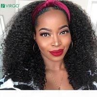 Densidade 180% Afro Kinky Curly Wig Headband Headband Wig Curto Curly No Lace Front Humano cabelo com Headband Brazilian Remy