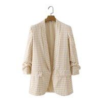 Women's Suits & Blazers Tide Women Vogue Office Wear Basic Plaid Blazer Coat Vintage Pleated Sleeve Pockets Female Outerwear Chic Tops