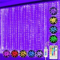 3 * 3M Cuerdas LED Luz 16 colores Cambio de luces de cortina USB 7 Modos con lámpara de hadas remota para Dormitorio Dormitorio Día de la Ventana Día de la Decoración