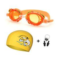 Ragazzo Girl Goggles Goggles Bambini Silicone Dolphin Pesce Cappucci dell'orecchio Plug Naso Set Diving Glasses Impermeabile Bambini Swim Piscina Eyewear SQCTGT