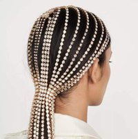 sparkly Bridal Headband Rhinestone Long tassel Hair Chain Accessories for Women Crystal Multi Strand Head Chain Hair Jewelry