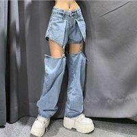 Meqeiss Yeni Sokak Kot Kadınlar Splice Geniş Bacak Pantolon Hip-Hop Pamuk Gevşek Retro Zincir Çıkarılabilir Serin Kızlar Bayan Denim Pantolon