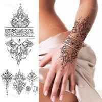 Faux Tatto Tatouage temporaire Grand Motif Stickers Stickers imperméable Doigne Doigt Poitrine Tatoos Noir Cody Art pour femme