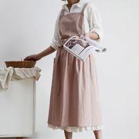 Aprons P82C Women Cotton Linen Cross Back Apron Japanese Housework Baking Wrap Florist Dress Kitchen