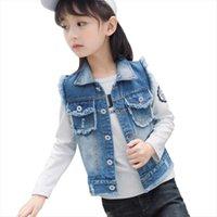 Mädchen Jeansweste Ärmellose Jean Jacken für Kinder Kinder Oberbekleidung Cowboy Weste 3 13Y Mädchen Ripping Mantel