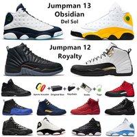 Koyu Toz Mavi Büküm jumpman 12'ler 13'ler erkek basketbol ayakkabıları 12 Yardımcı ters grip oyunu spor salonu Kırmızı çakmaktaşı 13 yetiştirilmiş erkek eğitmenler spor ayakkabı