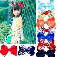 Baby Stripe Bow Hairpins 3 Inch Girls Mini Designer Bowknot Hair Clips Children Cute Barrettes Kids Party Travel Hair Accessories FJ459