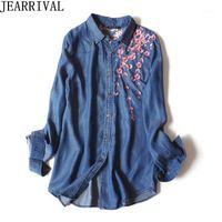 2018 nova primavera moda jeans camisa mulheres casual manga longa floral bordado jeans blusa tops vintage blusas femininas1