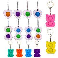 Mini Bear Push Bubble Key Cain Key Catena sensoriale Fidget Toy Keychain Stress Reliever Giocattoli per adulti Bambino Adulto Single Fidget Giocattoli