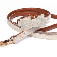 Dog Collars & Leashes Fashion PU Leather Leash Dogs Collar Pet Floral Bowknot Necktie Puppy German Shepherd Perro Pitbull Pets Supplies