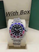 Box Papers Mens 시계 40mm 손목 시계 블루 블랙 세라믹 베젤 스테인레스 스틸 시계 116710 자동 GMT 이동