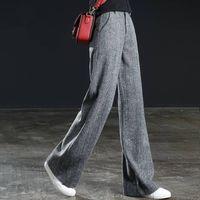 Women's Pants & Capris Calça de lã feminina cintura alta, calça perna larga solta para inverno e outono, longa quente grossa, tamanho gran, SSCE