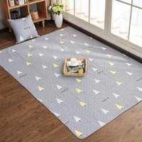 Carpets Nordic Cotton Fabric Carpet Floor Mats Home Bedroom Coffee Table Tatami Mat Crawling Non-slip Machine Washable Rug