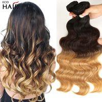 Ombre Brazilian Body Wave Webart Bündel Three Tone Blondine Remy Human Hair Extensions 1b 4 27/30