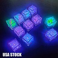 Polycherome Flash Hielo Cub Colores Iluminación Up Cube de plomo para beber Blanco Novedad Night Light Party Lights Bar Club Pub KTV