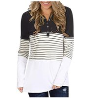 Women's Long-Sleeved Pullover Fashion Striped Stitching Buttons V-neck Sweatershirt Tops Winter Plus Size Top Female Clothes#FS Hoodies & Sw
