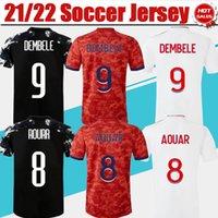 Ol Home White Soccer Jersey # 9 Dembele 21/22 Les Gones longe Vermelho # 10 l Paqueta # 8 Aouar Camiseta 2021/2022 Homens Fãs Versão Cherki 3rd Black Football Uniform