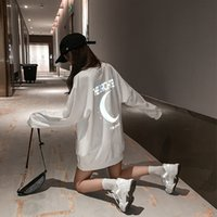 Reflective Moon, Dazzling Fashion, Round Neck Sweater, Women's 2021 Spring and Autumn Thin Plush Thickened Medium Length Top