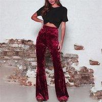 Sonbahar Kadın Pantolon Bayanlar Moda Yüksek Bel Altın Kadife Pantolon Kadın Capris için Kadın Rahat Düz Renk Geniş Bacak