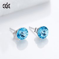 Sidel Fashion Round Girl Earrings S925 Pure Silver Simple Versatile Creative Crystal for Women