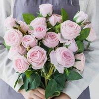 Yüksek Kalite Gül Yapay Çiçek Gerçek Dokunmatik Lateks Çiçekler Faux Silikon Sahte Gül Buket Dekorasyon Ev Düğün için