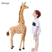 Большой размер фаршированные мягкие реалистичные плюшевые жираф животных реальные живые жирафы кукла детский дом декор стрельба реквизит подарок на день рождения 210804