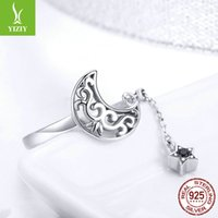 BAMOER Genuine 925 Sterling Silver Moon And Star Long Chain Star Adjustable Finger Ring for Women Sterling Silver Jewelry SCR479 1066 T2