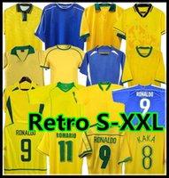 1998 2002 الرجعية Brasil Soccer Jerseys Shirts Carlos Romario Ronaldo Ronaldinho 2004 Camisa de Futebol 1994 البرازيل 2006 1982 Rivaldo Adriano Pele