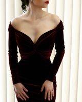 Borgonha Sexy vestidos de baile curtos off-ombro de veludo manga comprida v-pescoço de ranhura bainha vestidos de noite