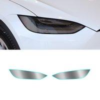 Tesla 모델 x 2015-2021 자동 자동차 헤드 라이트 비닐 필름 연기 검은 빛 틴트 보호대 시트 스티커 방수 커버