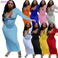 Дизайнеры Maxi Платья для женщин Глубокие V-образные шеи вязаные с длинным рукавом Bodycon платье сексуальный клуб носить юбка Летняя и осень одежда