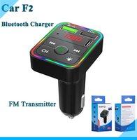 F2 FM 자동차 충전기 BT5.0 송신기 듀얼 USB 빠른 충전 PD 유형 C 포트 핸즈프리 오디오 수신기 소매 상자가있는 핸드폰 용 자동 MP3 플레이어