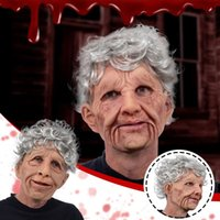 Party Masks Scary Old Woman Wig Mask Man Halloween Funny Adult Creepy Wrinkle Face Latex Cosplay Props
