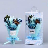 عيد الأم المجففة زهرة باقة مربع الاصطناعي الزهور المجففة باقة عيد الأم البسيطة باقة PVC هدية مربع ZHL1810
