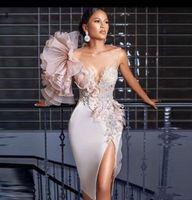 Robe de cocktail élégant robe de cocktail élégant gaine Split Soirée robe élastique Satin Satin de Charme Gobings de bal de Charme Perlée Dentelle Custom