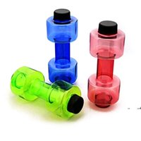 NewDumbbell زجاجة ماء الدمبل على شكل الرياضة غلاية المياه اللياقة الرياضية البلاستيك كوب مختومة تسرب دليل زجاجة 20 أوقية EWE7418