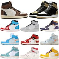 Jumpman 1 Mens Basquete Sapatos Quebrados Backboard UNC 1S Gold Top 3 Cactus Jack Obsidian Banned Bred Toe Homens Trainer Sports Sneakers
