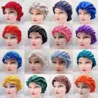 Colore solido Seta Satin Cappello da notte Cappello Delle Donne Cappuccio per Sleep Sleep Caps Bonnet Capelli Assistenza per capelli Accessori moda