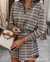 Casual Dresses Drawstring Dress Women's Fashion 2021 Summer PLAID RUFFLE Panel Waist
