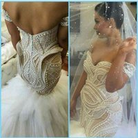 Newest Sexy Mermaid Trumpet Ivory Off Shoulder Pearls Tulle Cheap Corset Wedding Dresses Bridal Gowns 2021