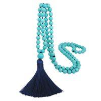 Europe et Amérique Bijoux Pendentifs Colliers Turquoise Perles Perles Badmade à la main Tassel Retro Long Pull Chaîne Transfer-Frontière Accessoires de mode
