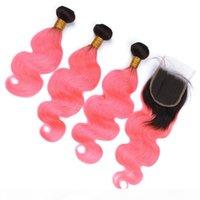 Raíz oscura # 1b y rosa Ombre Virgin Indian Pein Body Wave Weave Weave Bundles con cierre de encaje 4x4 Ombre Pink Human Hair Extensions